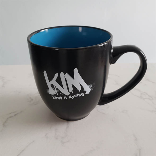 KIM keep it moving coffee mug, blue inside